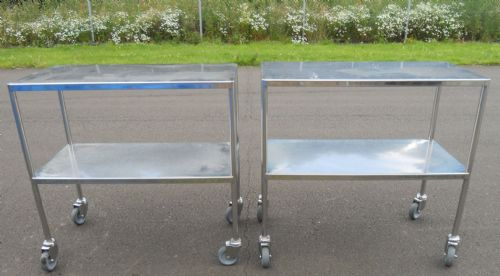 Pair Stainless Steel Catering Trolleys